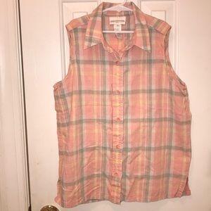 Jones NY Sleeveless Button Up Blouse